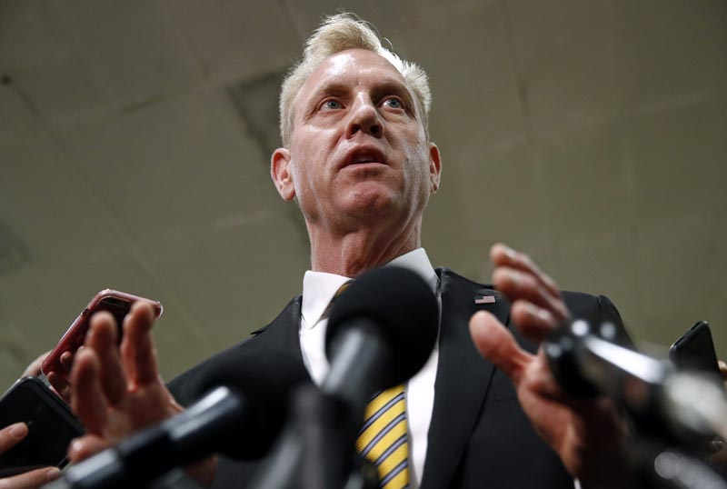 Acting Defense Secretary Patrick Shanahan speaks to reporters after a classified briefing for members of Congress on Iran, Tuesday, May 21, 2019, on Capitol Hill in Washington. Photo: AP