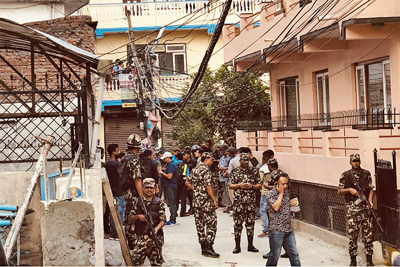 Army personnel deployed in the blast site in Anamnagar, Kathmandu. on Sunday, May 26, 2019. Photo: Mausam Shah/THT