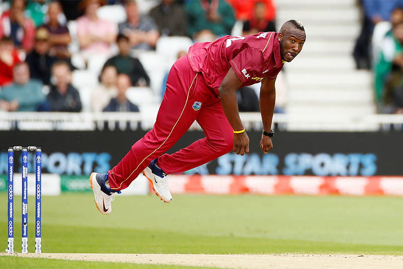 West Indies' Andre Russell in action. Photo: Reuters