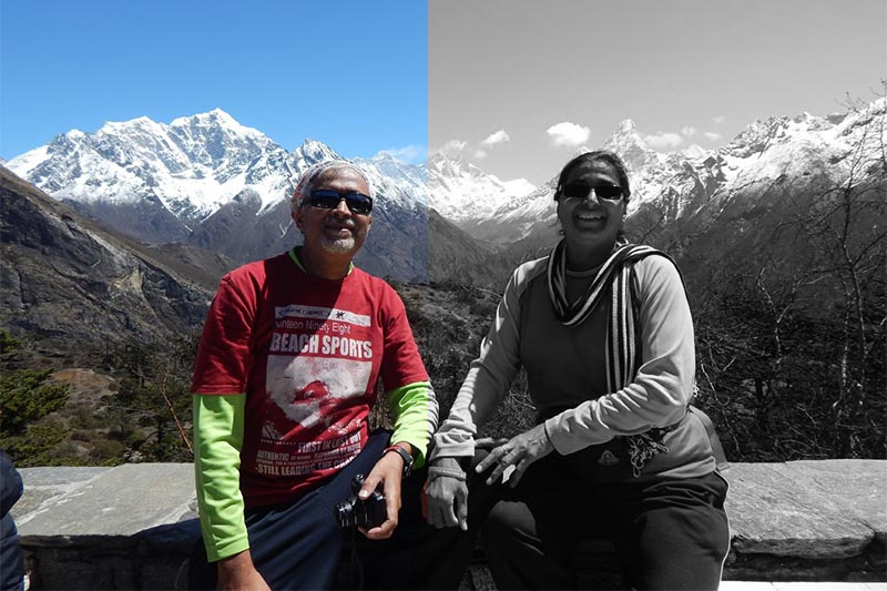 Indian couple climbers Anjali S Kulkarni (right) and Sharad Kulkarni in Nepal. Photo courtesy: Bhushan Joshi/Facebook