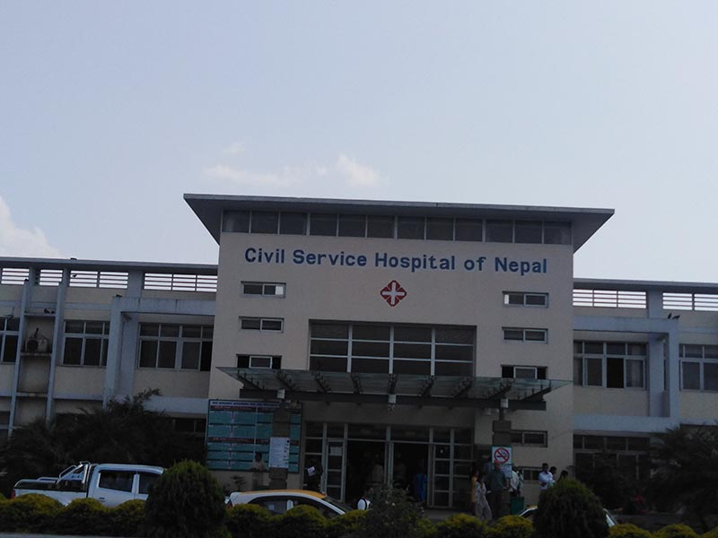 A view of Civil Service Hospital in New Baneshwor, Kathmandu in May 19, 2019. Photo: Sandeep Sen/ THT Online