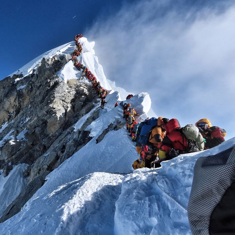 Climbers ascending Mt Everest on May 22. Photo Courtesy: Nirmal u2018Nimsu2019 Purja