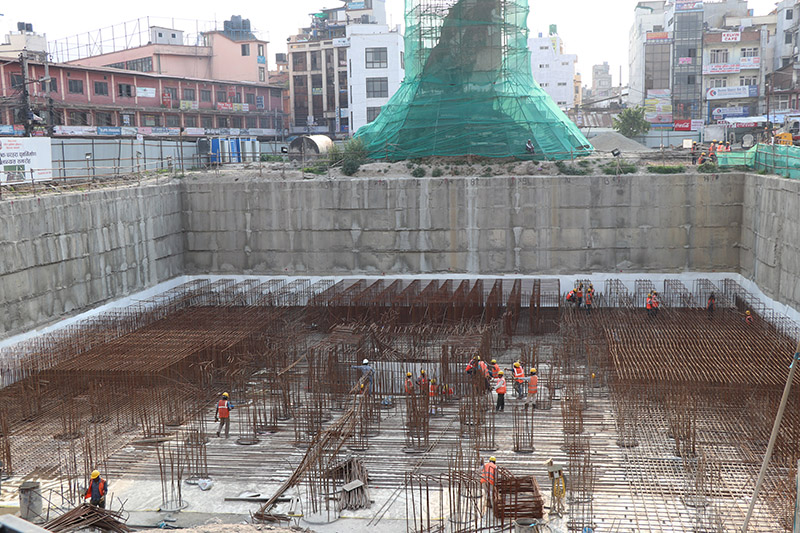FILE - Construction work on Dharahara's raft foundation in progress. Photo: NRA
