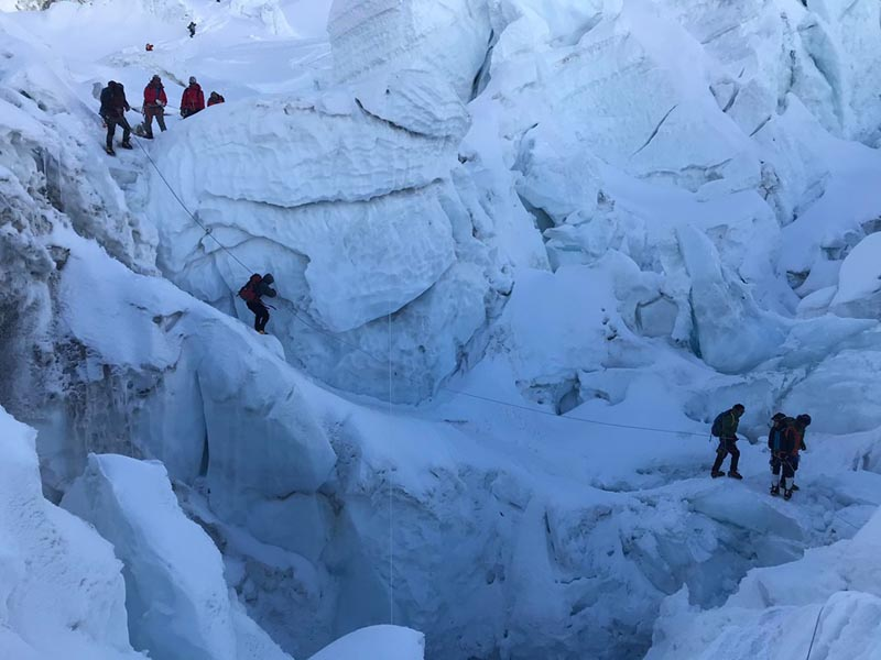 Climbers making acclimatisation rotation at Camp III on Mt Everest. Photo Courtesy: Pasang Rinzee Sherpa via THT