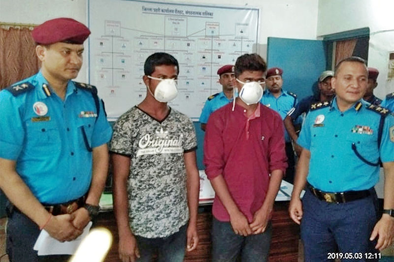 The suspects being made public at the District Police Office, Rautahat, in Gaur, on Friday, May 03, 2019. Photo: Prabhat Kumar Jha/THT