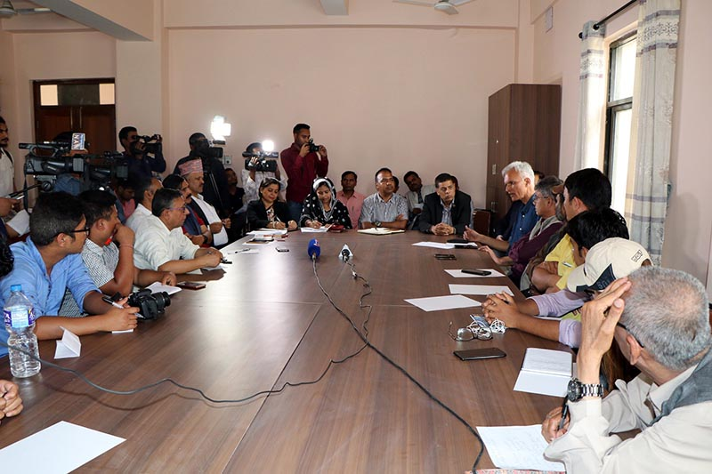 This undated image shows the members of Federation of Nepali Journalists (FNJ) consulting with lawyers on a new bill registered in the Parliament, that includes controversial provisions, such as fine up to Rs 1 million, aimed at curtailing media freedom. Photo courtesy: FNJ
