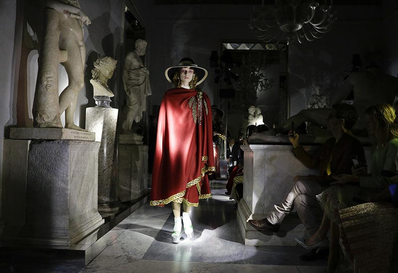 A model wears a creation as part of the Gucci cruise collection that was presented at the Capitoline Museums in Rome, Tuesday, May 28, 2019. Photo: AP