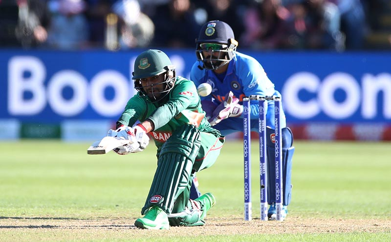 Bangladesh's Mehidy Hasa in action during the ICC Cricket World Cup warm-up match between Bangladesh and India, at Cardiff Wales Stadium, in Cardiff, Britain, on May 28, 2019. Photo: Action Images via Reuters