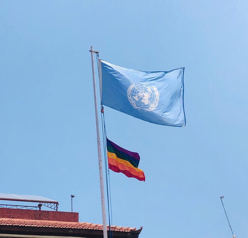 United Nations in Nepal raising the rainbow flag to mark International Day Against Homophobia, Biphobia & Transphobia, standing in solidarity with the LGBTIQ+ community in Nepal and all over the world, at UN House, in Pulchok, Lalitpur, on Friday, May 17, 2019. Photo: Twitter/UN Women Nepal