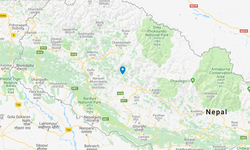 Biplav-led CPN cadre arrested in Jajarkot.Photo: Google Maps