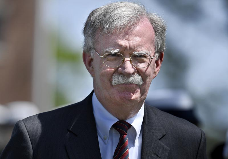 National Security Adviser John Bolton arrives to speak at the commencement for the United States Coast Guard Academy in New London, Conn, Wednesday, May 22, 2019. Photo: AP