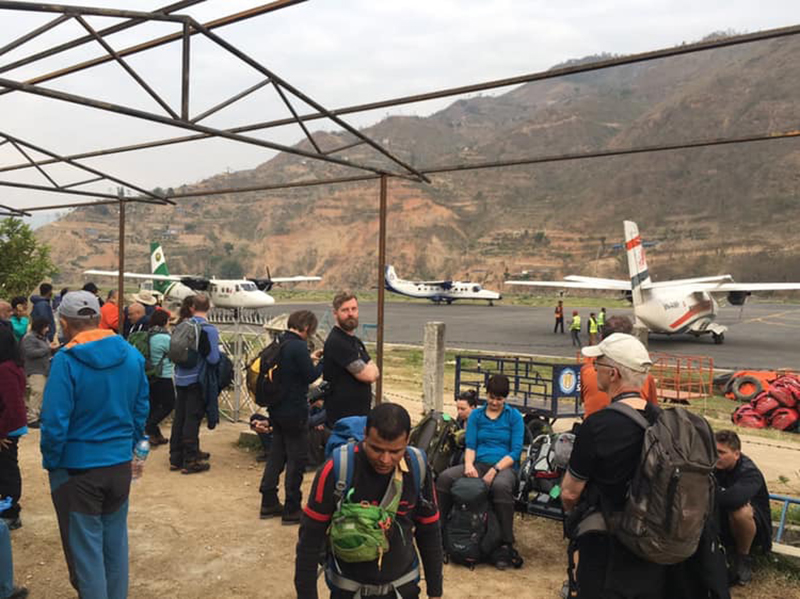 In this undated image passengers wait for flights to Lukla, at Manthali Airport in Ramechhap district. Photo courtesy: Angela Essex-hans/ Facebook