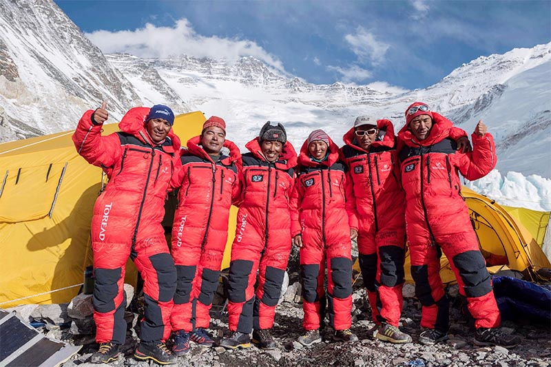 Rope fixing team from Imagine Nepal Treks on Mt Lhotse, on Tuesday, May 14, 2019. Photo courtesy: Mingma Gyalje Sherpa
