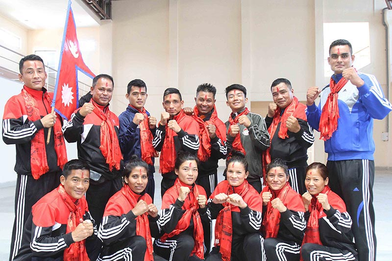 Nepal boxing team members pose for a photo in Lalitpur on Friday, May 17, 2019, before leaving for Guwahati to take part in the Indian Open International Boxing Tournament.. Photo: Udipt Sigh Chhetry