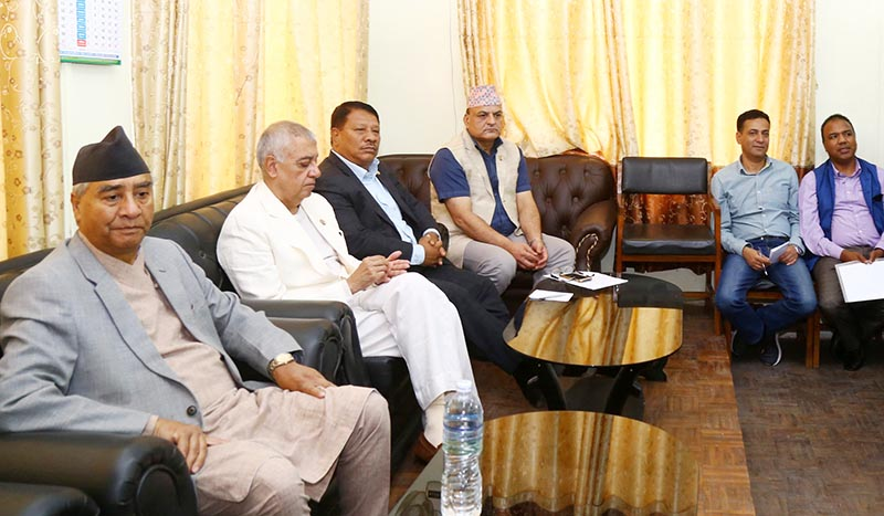 Nepali Congress President Sher Bahadur Deuba and other leaders participate in the NC parliamentary party meeting, at Singha Durbar, Kathmandu, on Wednesday, May 15, 2019. Photo: RSS