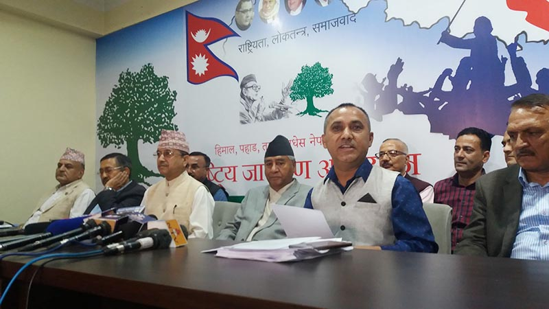 Nepali Congress President Sher Bahadur Deuba (fourth from left), NC general secretary Purna Bahadur Khadka, spokesperson Bishwa Prakash Sharma among other leaders participate in a press meet organised at the party's central office in Sanepa, Lalitpur, on Sunday, May 12, 2019. Photo: RSS