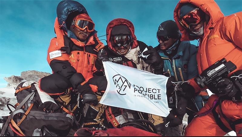 Nirmal u2018Nimsu2019 Purja-led team on the summit of Mt Dhaulagiri. Photo Courtesy: Project Possible