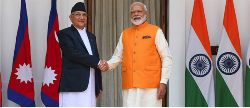 Nepali PM KP Sharma Oli and Indian PM Narendra Modi in a meeting at Hyderabad House in New Delhi, India on May 31, 2019. Photo: RSSu00a0