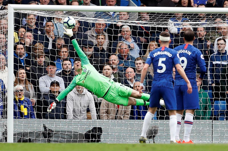 Chelsea's Kepa Arrizabalaga makes a save during the Premier League match between Chelsea and Watford, at  Stamford Bridge, in London, Britain, on May 5, 2019. Photo: Reuters
