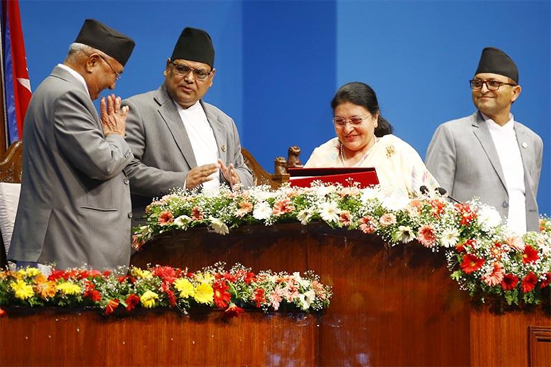 Prime Minister KP Sharma Oli handing over the governmentu2019s policies and programmes to President Bidya Devi Bhandari in the federal Parliament, in Kathmandu, on Friday, May 3, 2019. Photo: Skanda Gautam/THT