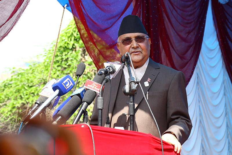 Prime Minister and Co-Chair of Nepal Communist Party (NCP) KP Sharma Oli addressing the programme organised on the occasion of 26th Madan-Ashrit Memorial Day, also the 1st anniversary of party unification between the then CPN-UML and CPN Maoist Centre, at Madannagar, Balkhu, in Kathmandu, on Friday, May 17, 2019. Photo: RSS