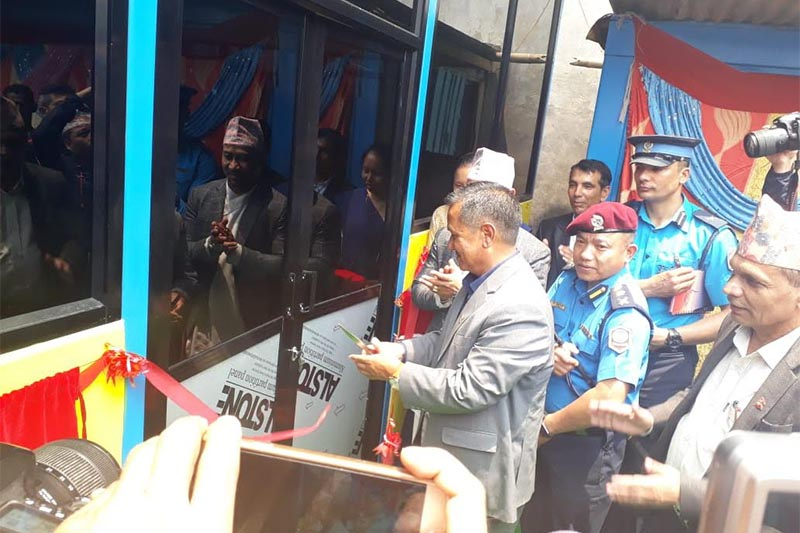 Gandaki Province Chief Minister Prithvi Subba Gurung inaugurating a gymnasium constructed on the premises of District Police Office, Kaski, on Thursday, May 30, 2019. Photo: THT