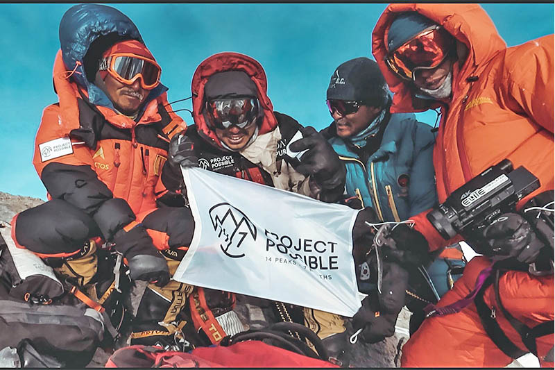 'Project Possible' team members on top of Mt Dhaulagiri. Courtesy: Project Possible