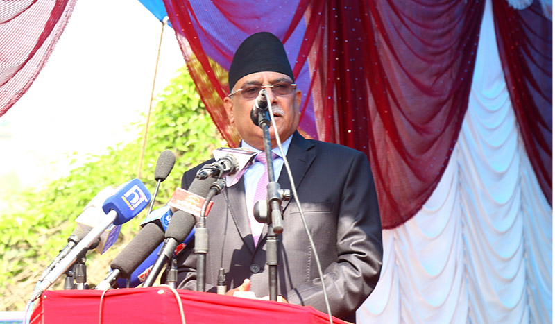 Former Prime Minister and NCP (NCP) Co-Chair Pushpa Kamal Dahal addressing the programme organised on the occasion of 26th Madan-Ashrit Memorial Day, also the 1st anniversary of party unification between the then CPN-UML and CPN Maoist Centre, at Madannagar, Balkhu, in Kathmandu, on Friday, May 17, 2019. Photo: RSS