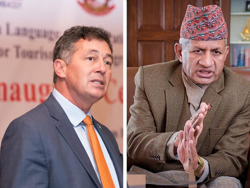 This undated combo image shows United States Ambassador to Nepal Randy Berry (left) and Minister of Foreign Affairs Pradeep Kumar Gyawali. Photo: THT