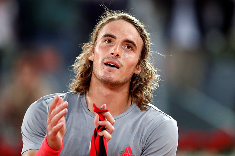 Greece's Stefanos Tsitsipas celebrates winning his semi final match against Spain's Rafael Nadal during Madrid Open, at Caja Magica, in Madrid, Spain, on May 11, 2019. Photo: Reuters