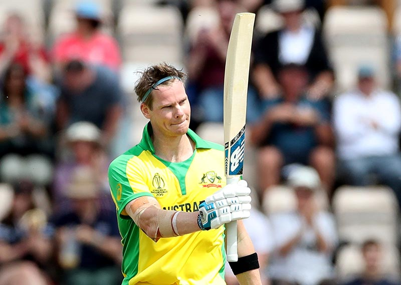 Australia's Steve Smith celebrates his century during the ICC Cricket World Cup Warm-Up Match between England and Australia, at The Ageas Bowl, in Southampton, Britain, on May 25, 2019. Photo: Action Images via Reuters