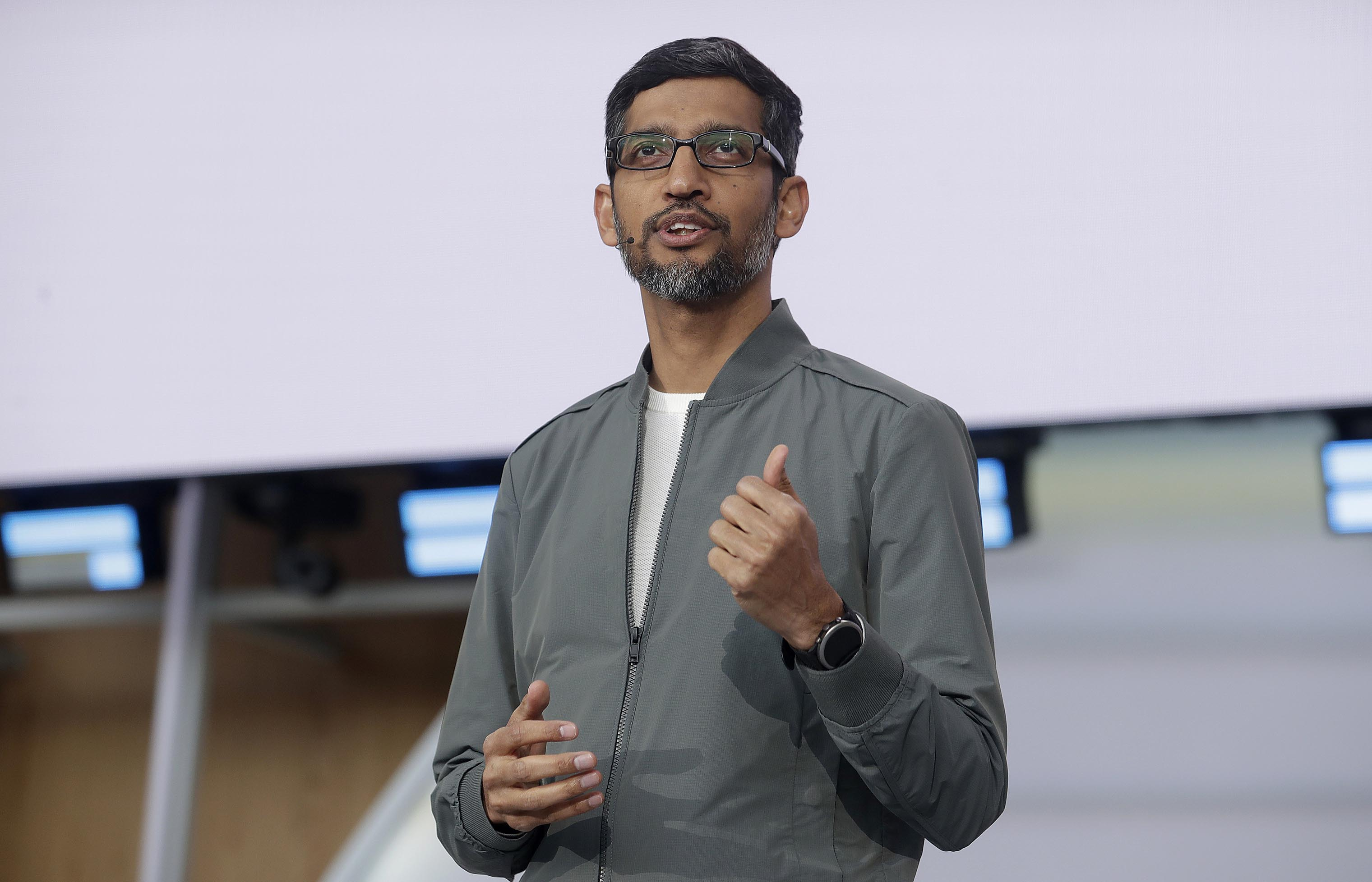 Google CEO Sundar Pichai speaks during the keynote address of the Google I/O conference in Mountain View, California, Tuesday, May 7, 2019. Photo: AP