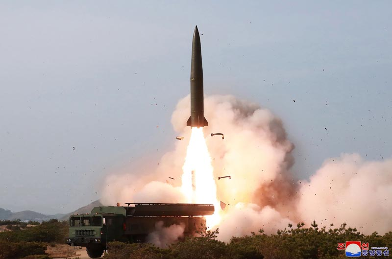 File photo provided by the North Korean government shows a test of weapon systems, in North Korea. On May 4, 2019, Photo: Korean Central News Agency via AP, File