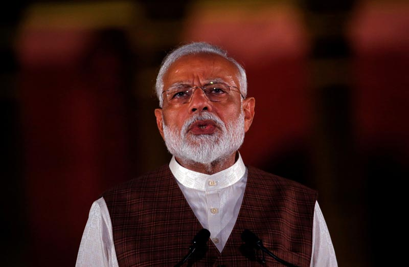 FILE PHOTO: India's Prime Minister Narendra Modi speaks to the media after his meeting with President Ram Nath Kovind, to stake claim to form the new government at the Presidential Palace in New Delhi, India May 25, 2019. Photo: Reuters
