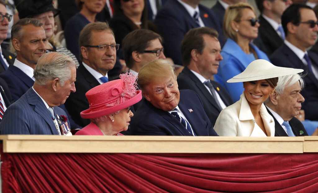 Britain's Prince Charles, Queen Elizabeth II, American President Donald Trump and first lady Melania Trump, from left, attend an event to mark the 75th anniversary of D-Day in Portsmouth, England, on Wednesday, June 5, 2019. Photo: AP