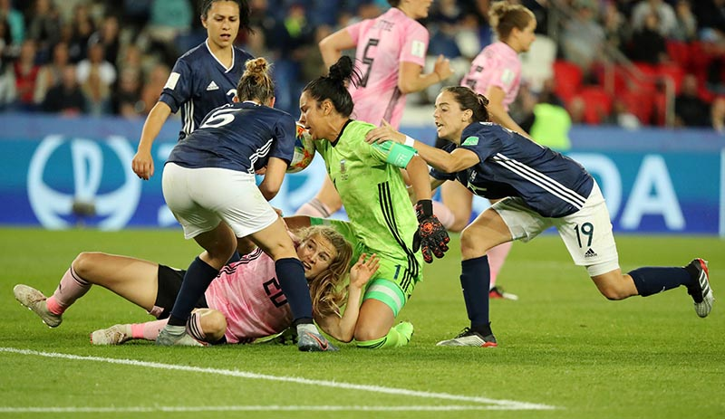 Argentina's Vanina Correa in action with Scotland's Fiona Brown during the Women's World Cup Group D match between Scotland and Argentina, at Parc des Princes, in Paris, France, on June 19, 2019. Photo: Reuters