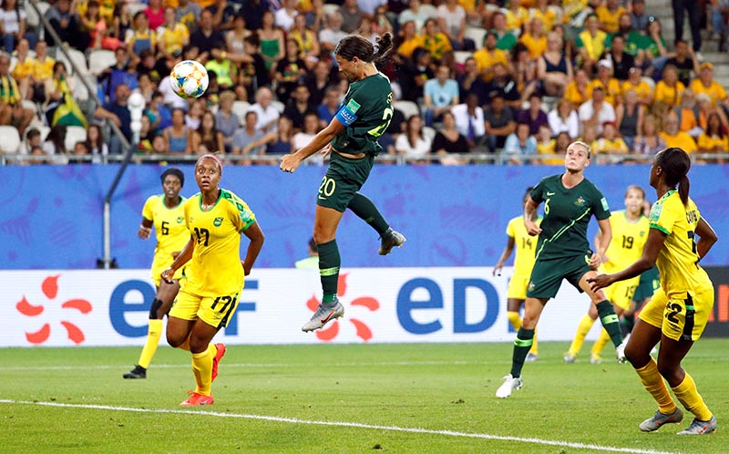 Australia's Sam Kerr scores their second goal during the Women's World Cup Group C match betweenJamaica and Australia, at Stade des Alpes, in Grenoble, France, on June 18, 2019. Photo: Reuters
