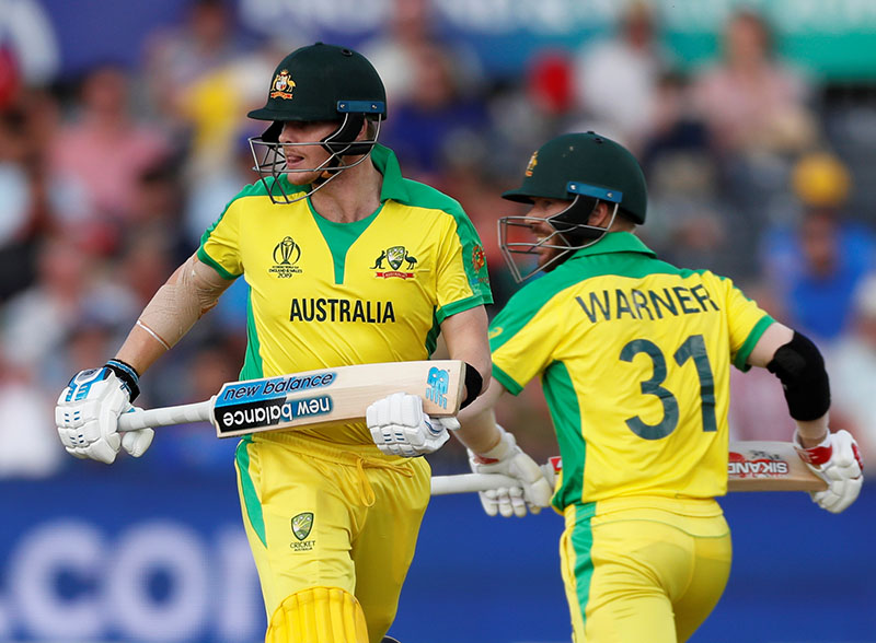 Australia's Steve Smith and David Warner in action during the ICC Cricket World Cup match between Afghanistan and Australia, at The County Ground, in Bristol, Britain, on June 1, 2019. Photo: Action Images via Reuters