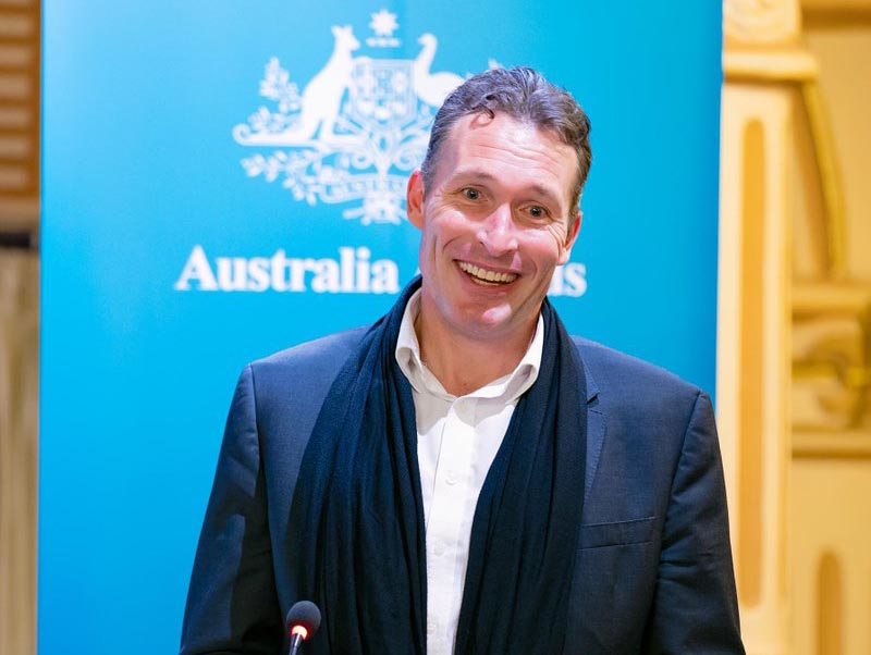 Australian Ambassador to Nepal Peter Budd addresses Australia Awards function, on 31 October, 2018. Photo: Peter Budd Twitter @AusAmbNP