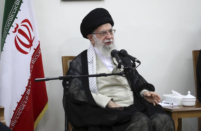 In this picture released on Wednesday, June 19, 2019, by the official website of the office of the Iranian supreme leader, Supreme Leader Ayatollah Ali Khamenei speaks in a meeting at his residence in Tehran, Iran. Photo: Office of the Iranian Supreme Leader via AP