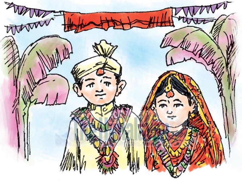 Child marriage. Illustration: Ratna Sagar Shrestha