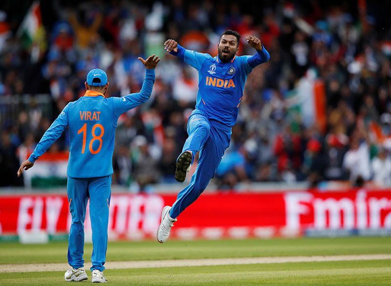 India's Hardik Pandya celebrates taking the wicket of Pakistan's Shoaib Malik during the ICC Cricket World Cup match between India and Pakistan, at Emirates Old Trafford, in Manchester, Britain, on June 16, 2019. Photo: Action Images via Reuters