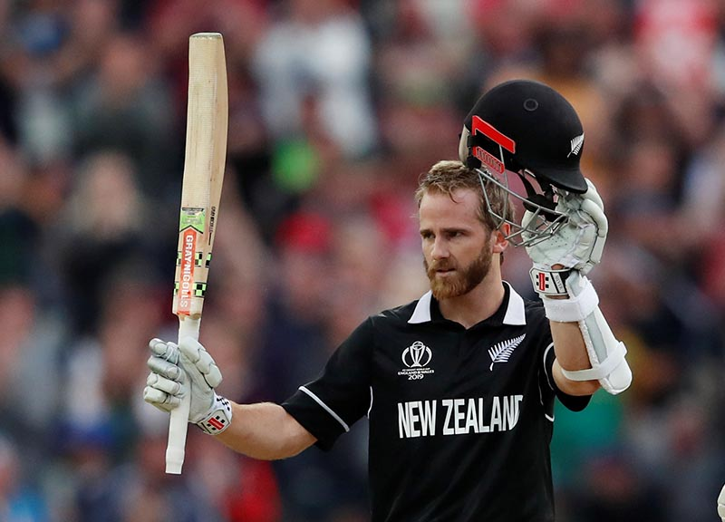 New Zealand's Kane Williamson celebrates a century during the ICC Cricket World Cup match between New Zealand and South Africa, at Edgbaston, in Birmingham, Britian, on June 19, 2019  Action Images via Reuters