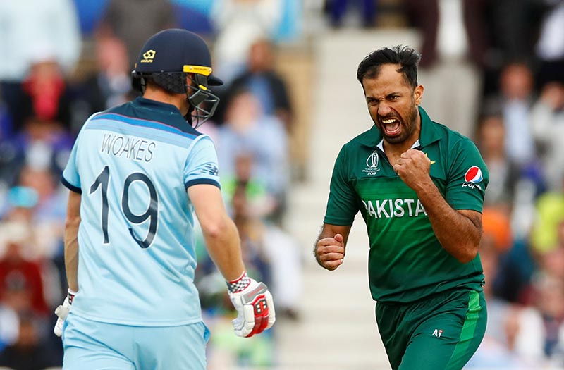 Pakistan's Wahab Riaz celebrates the wicket of England's Chris Woakes during the ICC Cricket World Cup match between England and Pakistan, at Trent Bridge, in Nottingham, Britain, on June 3, 2019. Photo:   Action Images via Reuters