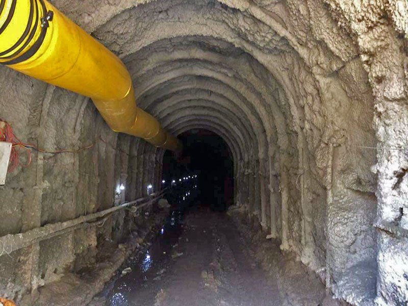 A view of the tunnel for the 27 MW Dordikhola Hydro Project in Lamjung, as on June 5, 2019. Photo: Ramji Rana/THT