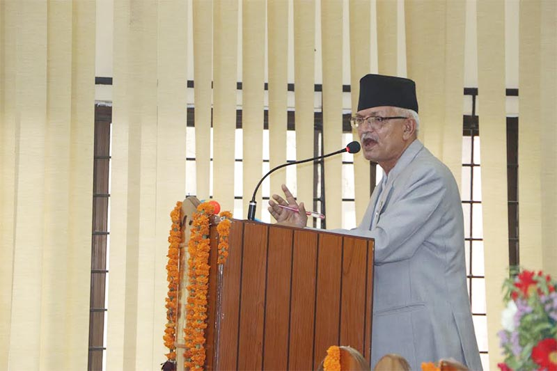 Province 3 Chief Minister Dormani Poudel addressing provincial lawmakers, on Friday, May 31, 2019. Photo: THT