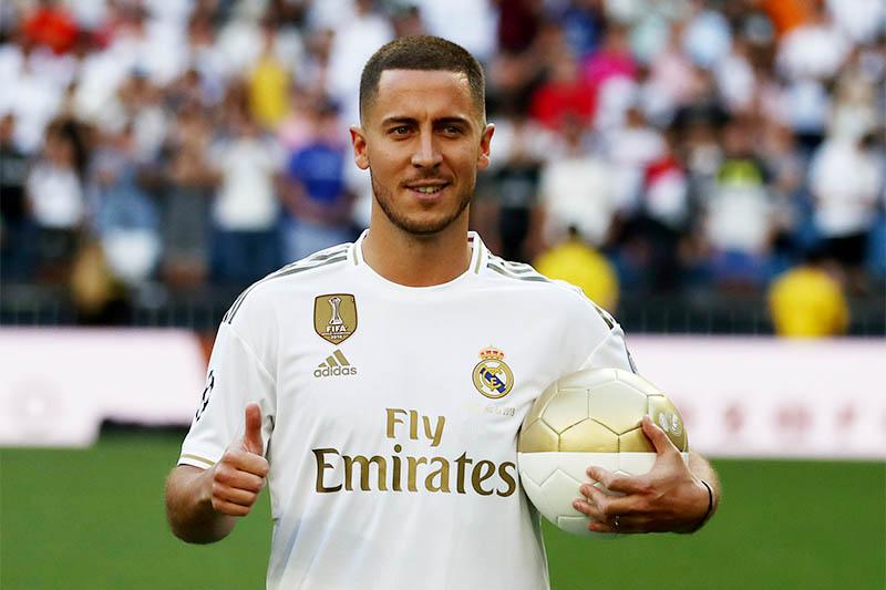Real Madrid's Eden Hazard during the presentation. Photo: Reuters