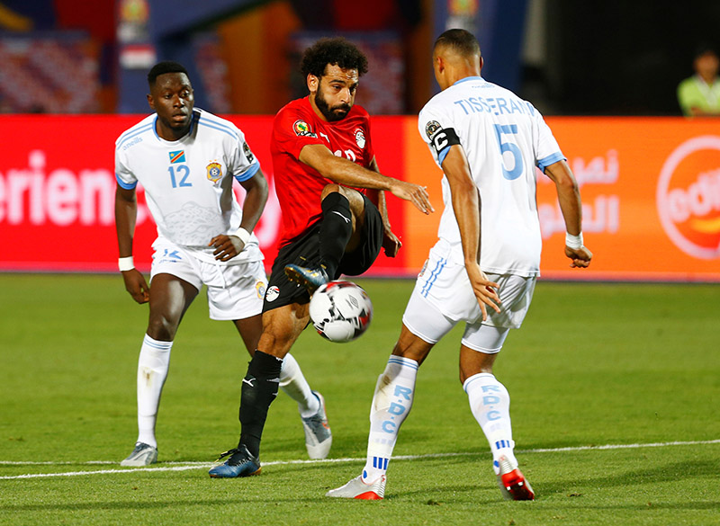 Egypt's Mohamed Salah shoots at goal during the Africa Cup of Nations 2019 Group A match between Egypt and DR Congo, at Cairo International Stadium, in Cairo, Egypt, on June 26, 2019. Photo: Reuters