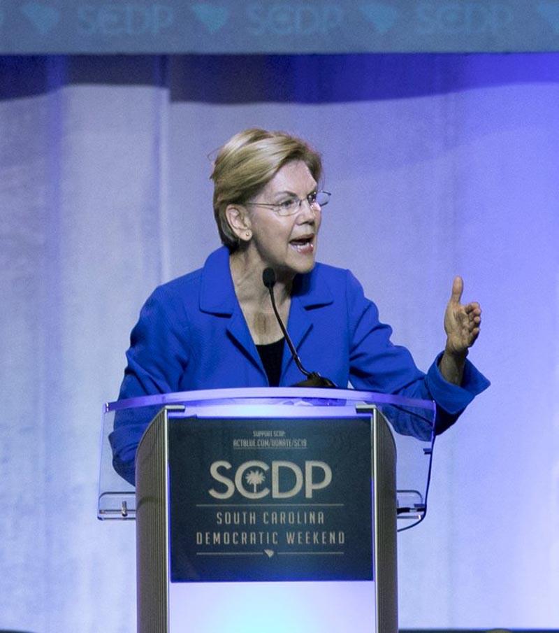 Democratic presidential candidate Elizabeth Warren speaks during the South Carolina Democratic Convention, Saturday, June 22, 2019 in Columbia, South Carolina. Photo: AP