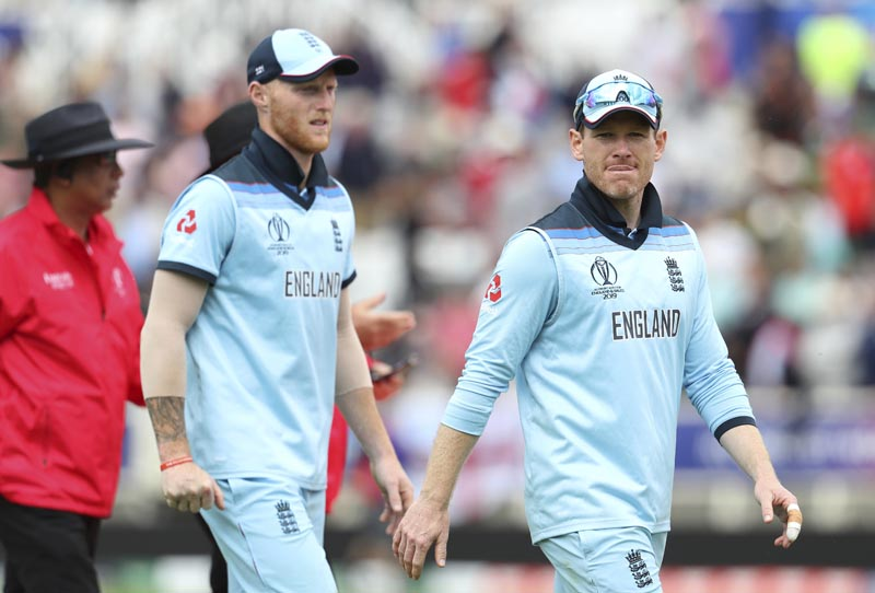 England's captain Eoin Morgan (right) and teammate Ben Stokes leave the filed at the end of Pakistan innings during the Cricket World Cup match between England and Pakistan at Trent Bridge in Nottingham, Monday, June 3, 2019. Photo: AP